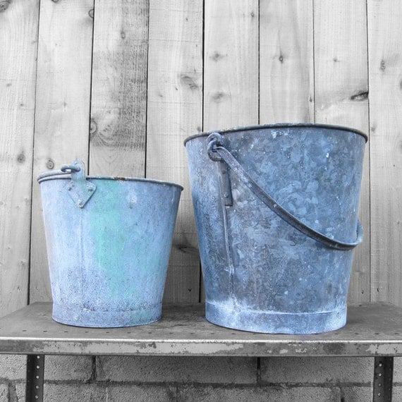 Metal Buckets Garden Planters Industrial 1960s Tub Decoration Home Kitchen Flowers Spring