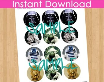 Star Wars Cupcake Topper INSTANT DOWNLOAD, Star Wars Printable, Star Wars Party Decorations, Star Wars Birthday Decorations Supplies Tags