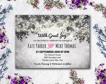 Printed Card - 50-75 Sets - Tree & Lights Wedding Invitation and Reply Card Set - Wedding Stationery - ID610