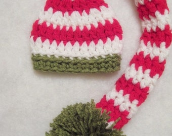MADE TO ORDER Crochet Chunky Pixie Hat Newborn Photo Prop Choose Your Colors