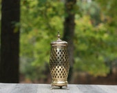 Large Vintage Brass Footed Cut-Out Candle Holders /  Brass Open-Cut Candle Holder / Punched Brass Candle Holder