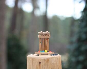 Vintage Doll House Miniature Croquet Set / Wooden Doll House Lawn Game / Miniature Croquet Set