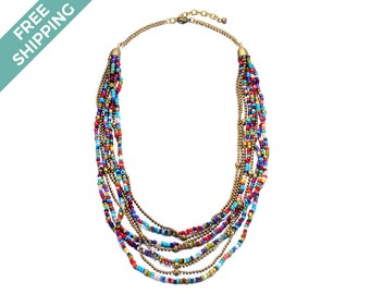 Multi-layered, Multi-coloured & Bronze Beaded Costume Jewelry Necklace