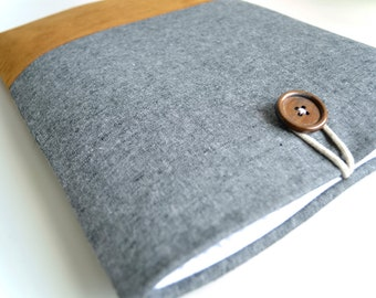 "11"" Laptop Sleeve 13"" Lap top Sleeve, 12""-14"" Computer Sleeve, MacBook Cover, Vegan PC Case, Any Size - Gray Linen"