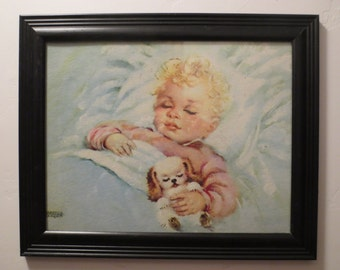 Vintage Framed With Glass Lithograph Sweet Dreams By Florence Kroger, Sleeping Child With Puppy Lithograph, Nursery Decor