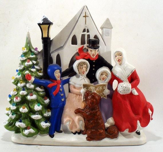 Lighted Christmas Carolers Ceramic Decoration By: Christmas Caroler's 1970's Ceramic Light Figurine By