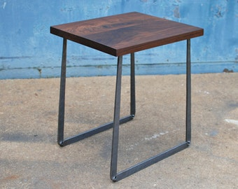 End Table, Hand-forged Steel Base, Walnut Table Top, Side Table, Night Stand