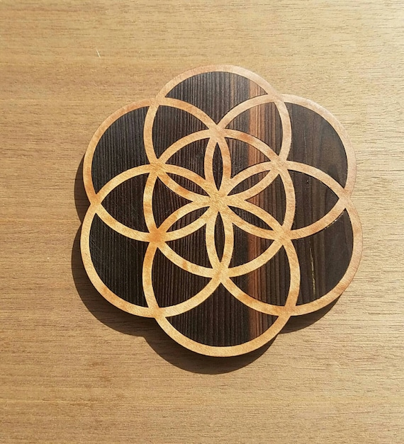 Seed of Life Reclaimed Wood Crystal Grid - River Oxidized Redwood in TanOak - Northern California Native Woods