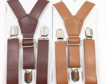 FREE DOMESTIC SHIPPING! Wedding Vintage Brown and Rust Brown 1inch Wide pu Leather Suspenders Y-Back for Kids Boys Mens Groom