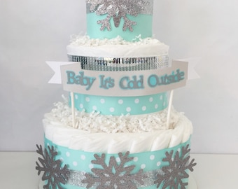 Baby it's Cold Outside Centerpiece in Mint and Silver, Winter Theme Baby Shower Diaper Cake, Decorations