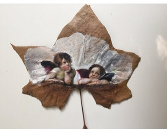 Two angels painted on real maple leaf, angels art, angels, neoclasica painting, religious painting,  religious art, raphael angels