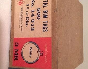 Vintage Metal Rim Tags - about 100 - FREE DOMESTIC SHIPPING