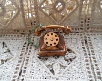 Miniature Copper Telephone - Retro  Dollhouse Telephone