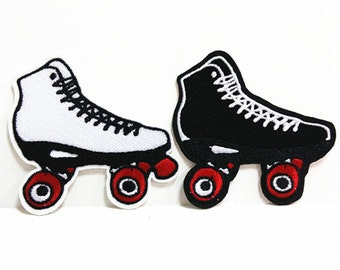 Sport Roller Shoes Black White (7 x 7 cm) Full Embroidered Applique Iron on Patch (B)