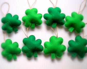Felt St. Patrick's Day Decoration, Green Felt Shamrock Ornaments, Felt St. Patrick's Day Decoration, St. Patrick's Day Shamrock 8 pieces