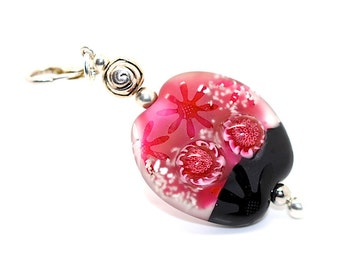 PINK FLOWERS - Center Bead -  free formed without a press