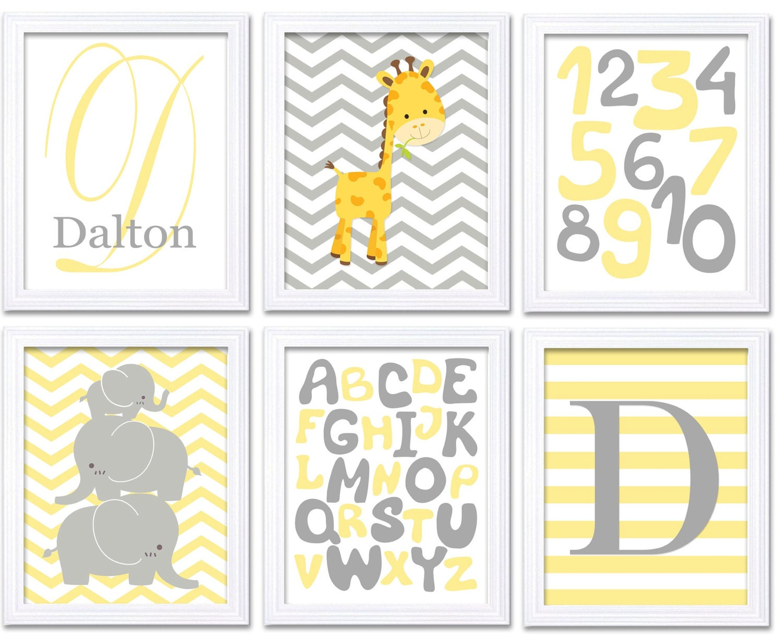 Yellow Grey Nursery Art Set of 6 Prints Baby Wall Art Decor Kid Child Bedroom Elephant Giraffe Alpha