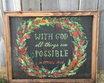 With God Nothing is impossible,Rustic art, indoor and outdoor, hand painting screeen