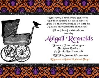 Halloween, Vintage Stroller, Baby Shower Invitation- Printable or Printed with FREE SHIPPING