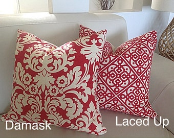 Tropical Cushions Tropical Pillow Cover Resort Style Red Cushions Red Pillows Scatter Cushion Designer Style Decor Damask
