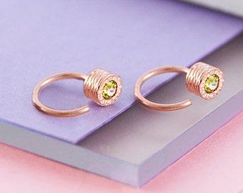 Rose Gold Gemstone Hoops, Gold Hoops, Gemstone Earrings, Peridot Earrings, Rose Gold Earrings, Hoop Earrings, Gemstone Earring, Stud Hoop
