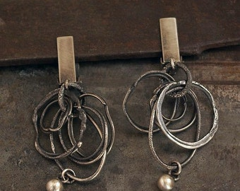 Sale 10 - 20 % OFF • USE CODE ! •  clip on earrings • oxidized sterling silver hoop earrings • organic silver • dangle  drop