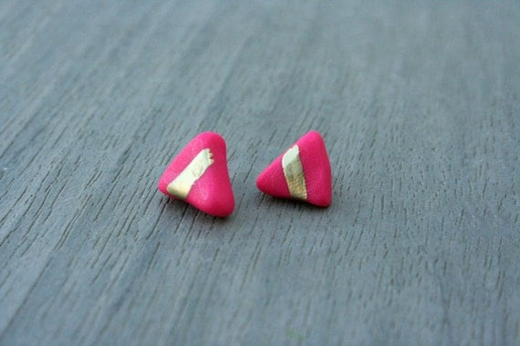Magenta Triangle Clay Studs // Gold or Sterling Silver // Bridesmaid // Gifts for Her // Stocking Stuffer
