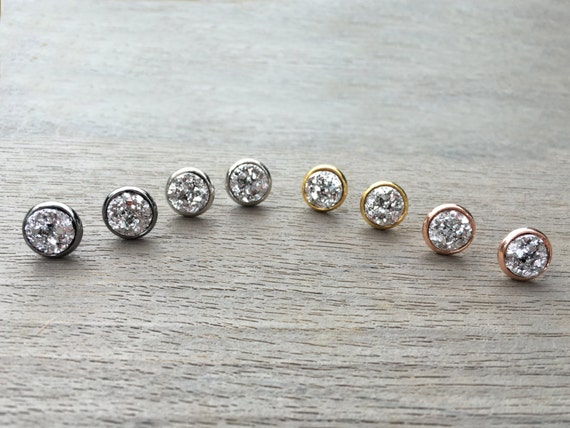 Silver Druzy Studs // Silver, Gunmetal, Gold or Rose Gold // Bridesmaid Gift // Gifts for Her // Wedding