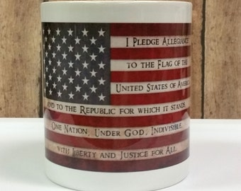 NokNoks Pledge of Allegiance, American Flag, Mug, 11 oz Ceramic Mug, white, Patriotic