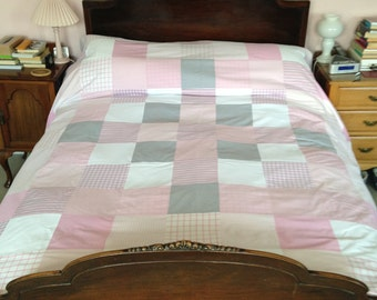 Patchwork King Size Duvet Covers made from Recycled Quality Cotton Shirts