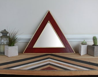 Triangle Wall Mirror Red Wine/Natural