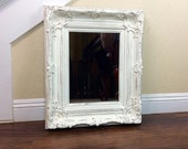 "Pretty Mirror, White Mirror, 21 1/2"" by 25 1/2"", Cottage Chic Decor, Distressed Frame, Different Sizes And Colors, Bathroom Mirror"
