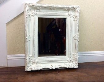 "Pretty Mirror, White Mirror, 21 1/2"" by 25 1/2"", Cottage Chic Decor, Baroque Frame, Different Sizes And Colors, Bathroom Mirror, Home"