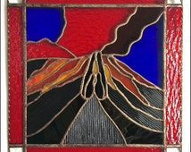 Inspirational Stained Glass Panel Volcano Erupting Praying Hands Made in Hawaii Deesigns by Harris