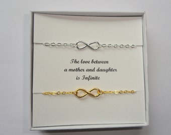 Mother daughter gift, Infinity bracelets, Sterling silver infinity bracelet, Gold infinity bracelet