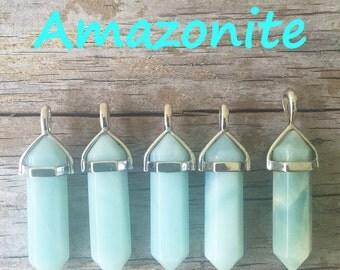 Amazonite Necklace/ Amazonite Keychain/ Amazonite Crystal Necklace or Keychain/ Amazonite Crystal/ Healing Crystals/ Layering Crystal