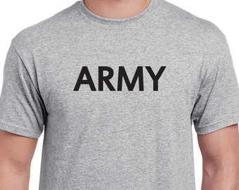 ARMY T-shirt. Classic PT style. Not official, not reflective, nothing printed on the back, just a sports grey Tee with ARMY printed on it.