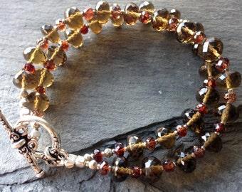 Whiskey Quartz and Natural Red Zircon Bracelet