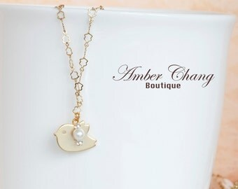 Cute Gold Bird Necklace with Floral Gold Plated Chain