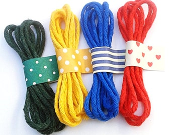 Cotton Bakers Twine / 100% Cotton String / Coloured  Twine / Colored String - Red / Yellow / Blue / Green