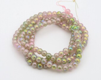 "AB Color Plated Green Tone Glass Round Bead Strand, Pink, 8~9mm, Hole: 1mm; about 108pcs/strand, 31.5""   #067"