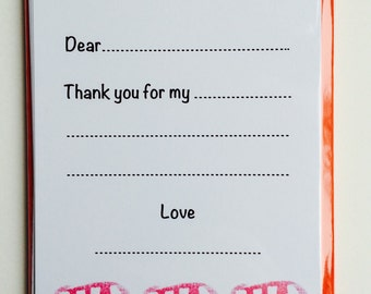 8 x Fingerprint Buses 'Thank You' kids notecards with Red envelopes