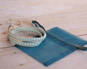 Sea-foam Blue Leather wrap bracelet, beaded leather bracelet, bead bracelet, leather bracelet, womans gifts, jewelry gifts, woven bracelet