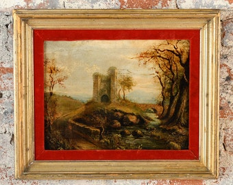 Antique Castle Ruins -18th century Oil Painting on Canvas