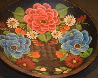 Hand Carved Hand Painted Wood Bowl