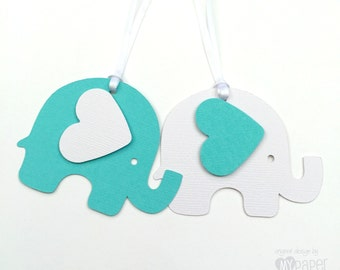 Turquoise and White Elephant Baby Shower gift tags. For gifts, first birthday, party favors, treats, gifts. Baby boy or girl, gender reveal.