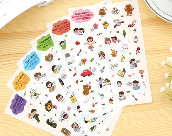 happy daily life stickers set - daily deco sticker - 6 Sheets