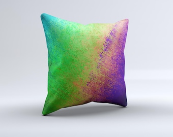 Vivid Neon Colored Texture ink-Fuzed Decorative Throw Pillow