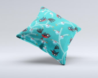 The Blue with Flying Tweety Birds ink-Fuzed Decorative Throw Pillow