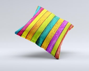 The  Neon Wood Planks ink-Fuzed Decorative Throw Pillow
